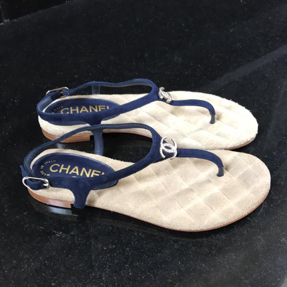 6bb969323a3a Chanel Blue Thongs Classic Flip Flops Navy Suede Silver Flats 35c Sandals  Size EU 35 (Approx. US 5) Wide (C