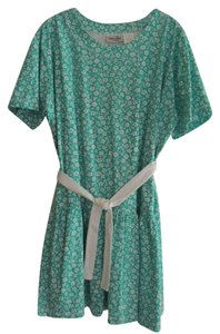 Leisure Wear by Adonna short dress White Flowers on Jade Green on Tradesy