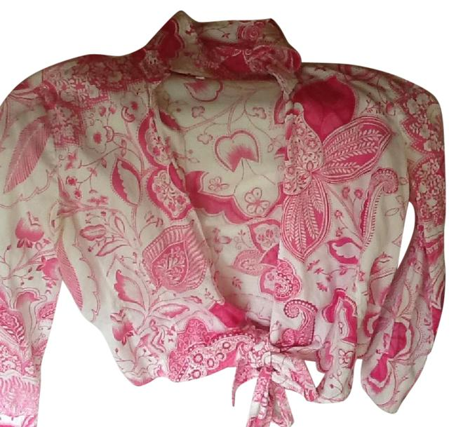 Item - Pink/White Tie At The Bottom Blouse Size 8 (M)