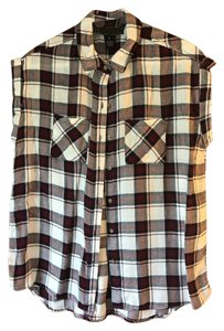 polly & esther New With Tags Rayon Cap Sleeves Plaid Patch Pockets Top polly&esther/Red Navy