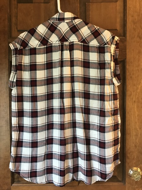 polly & esther New With Tags Rayon Cap Sleeves Plaid Patch Pockets Top polly&esther/Red Navy Image 1