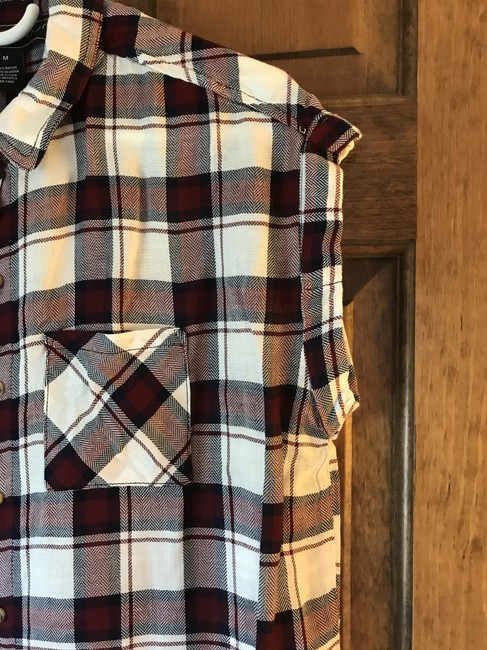 polly & esther New With Tags Rayon Cap Sleeves Plaid Patch Pockets Top polly&esther/Red Navy Image 2
