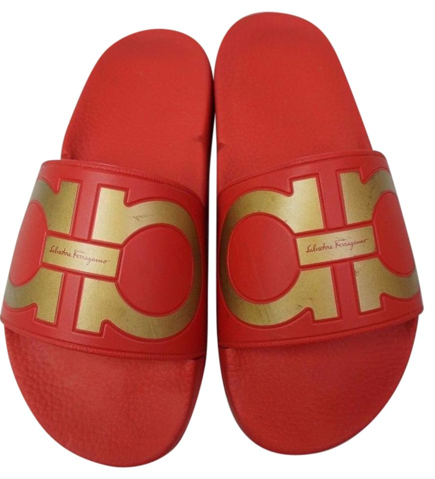 cb46d956c24 Salvatore Ferragamo Red Groove Logo Spa Slide Gold Women s Sandals ...