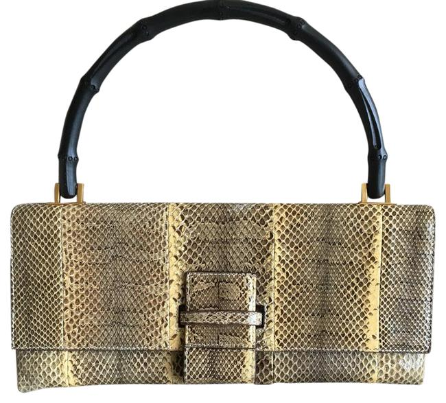 Item - Evening Bag Day To Grey and Tan Snakeskin Leather Wristlet