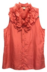 J.Crew Sleveless Ruffles Button Up Silk Top Coral Pink