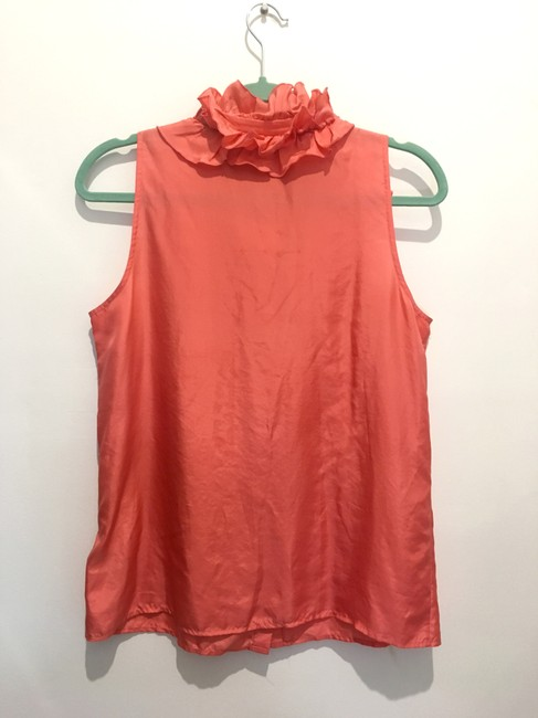 J.Crew Sleveless Ruffles Button Up Silk Top Coral Pink Image 1