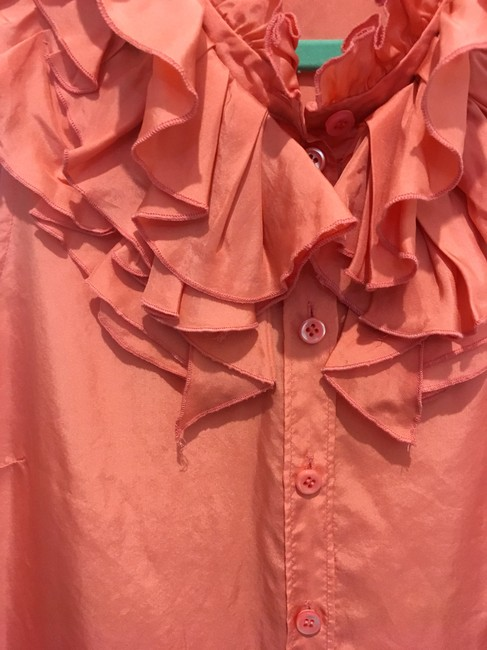 J.Crew Sleveless Ruffles Button Up Silk Top Coral Pink Image 2