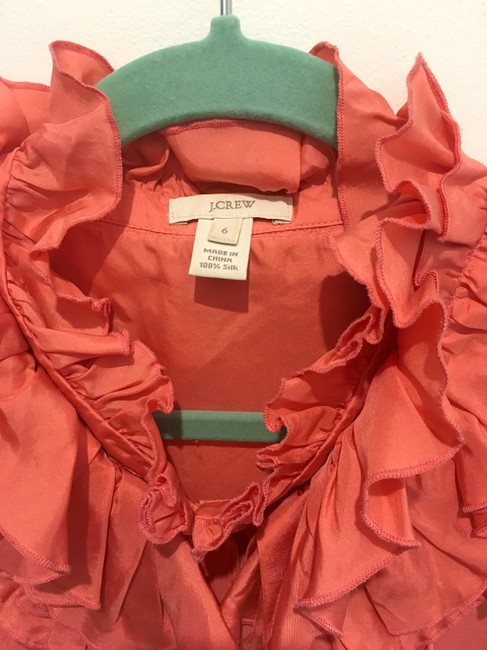 J.Crew Sleveless Ruffles Button Up Silk Top Coral Pink Image 3