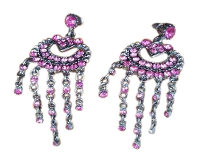 Pink Austrian Crystal Chandelier Earrings Pink Austrian Crystal Chandelier Earrings Image 1