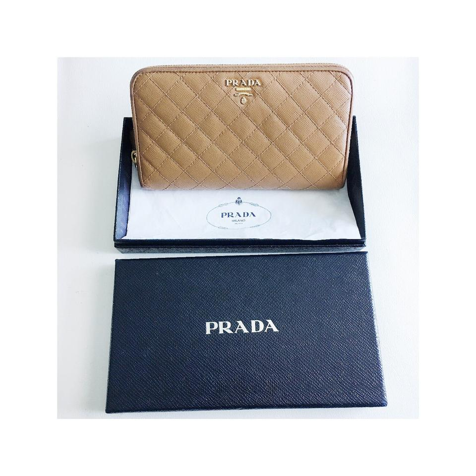 2a26032868cffc Prada Brown Tan Quilted Saffiano Zip Around Wallet - Tradesy