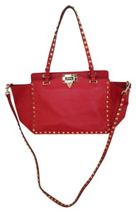 Valentino Sudded Leather Tote in red