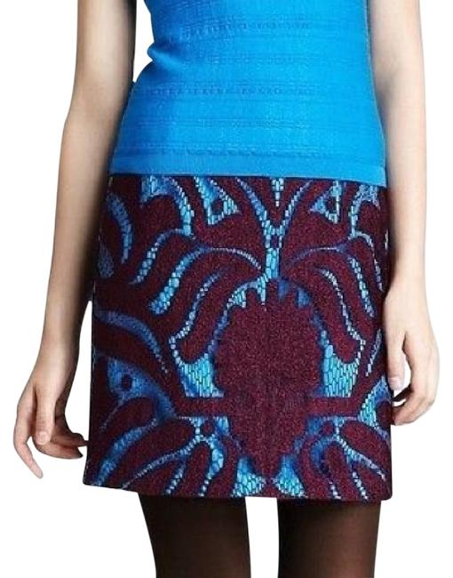"Item - Mulberry Purple and Cyan Blue Lace Overlay ""Wild Card"" Skirt Size 6 (S, 28)"