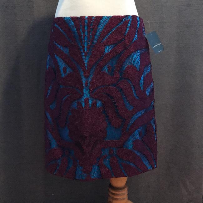 Nanette Lepore Lace Layered Skirt mulberry purple and cyan blue Image 2