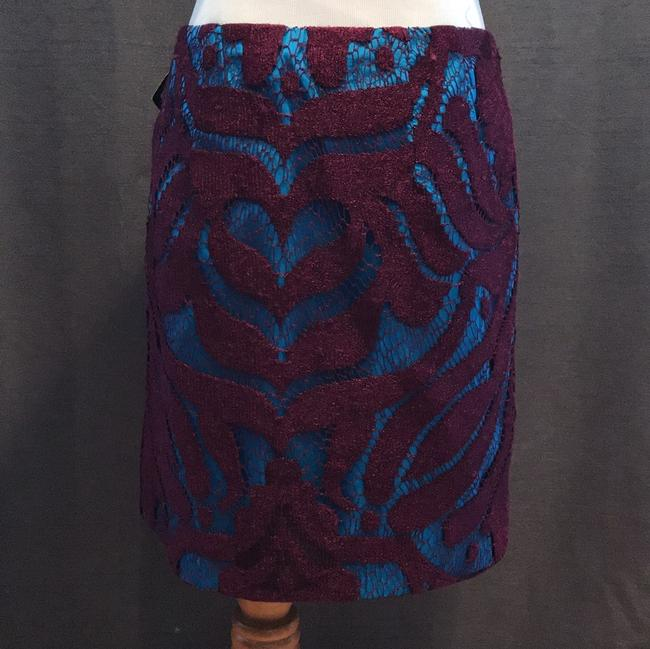 Nanette Lepore Lace Layered Skirt mulberry purple and cyan blue Image 3