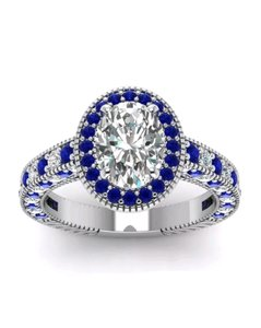 Helzberg Diamonds Spectacular Round Cut White-Blue Sapphire White Gold Tone Silver Ring