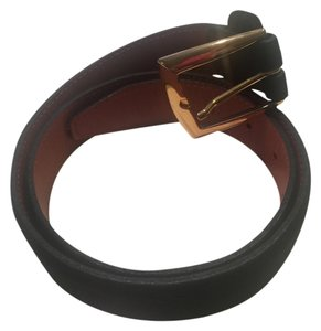Cole Haan Cole Haan Black Suede Belt with Goldtone Buckle 35