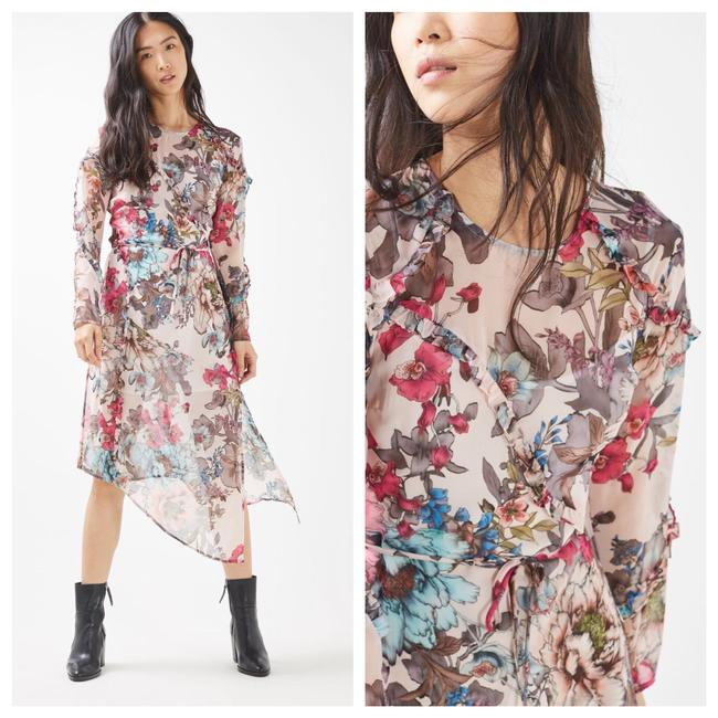 Item - Pink Blue Floral Ruffle Asymmetrical Mid-length Casual Maxi Dress Size 4 (S)