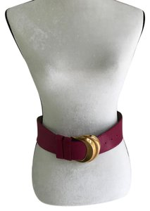 Donna Karan Vintage pink leather belt with gold buckle