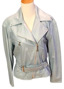 Escada Vintage Leather Metallic Hardware Moto Motorcycle Jacket