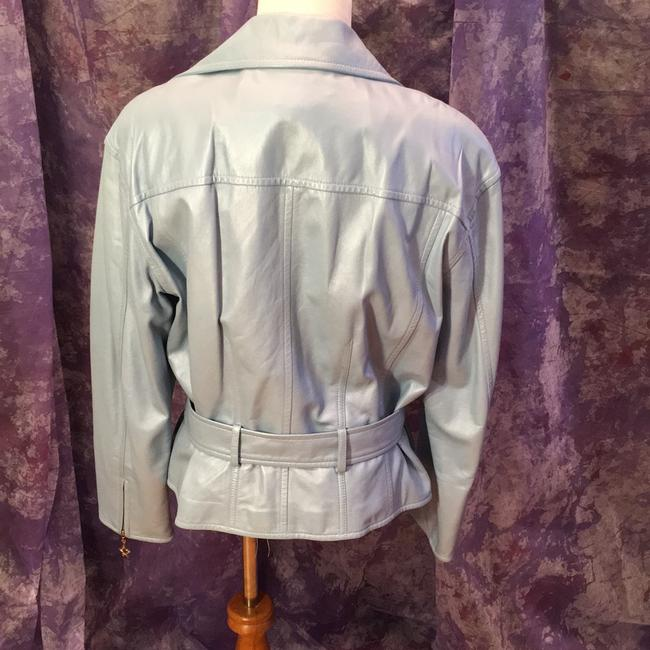 Escada Vintage Leather Metallic Hardware Moto Motorcycle Jacket Image 2