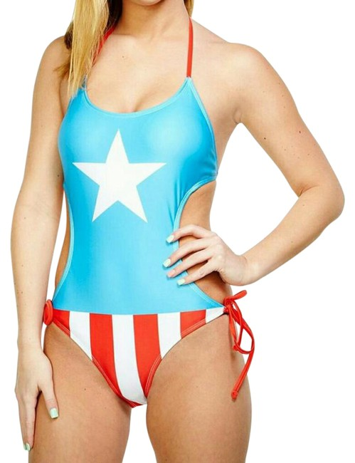 Item - Blue Red White Captain America Monokini Small Only One-piece Bathing Suit Size 4 (S)