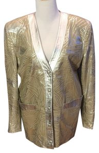 Lillie Rubin Vintage Painted beige with metallic silver pattern Leather Jacket
