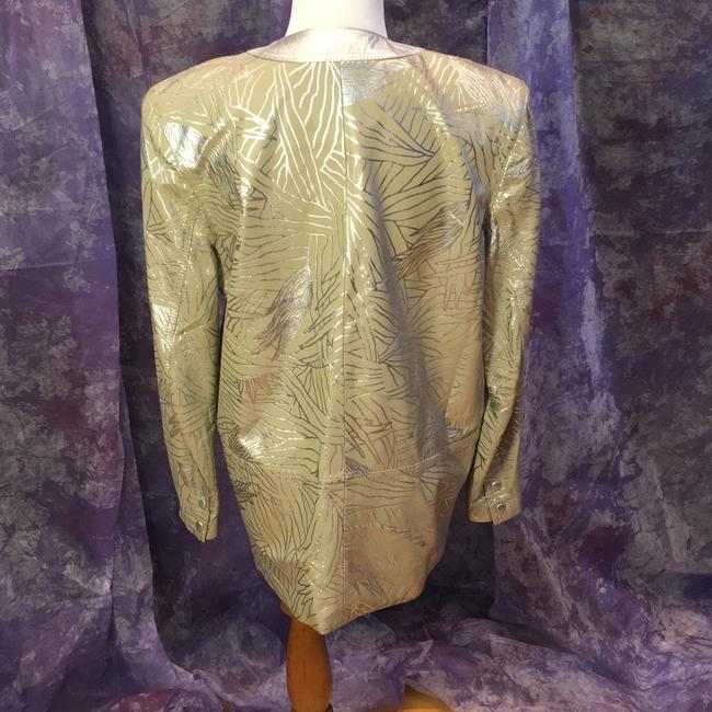 Lillie Rubin Vintage Painted beige with metallic silver pattern Leather Jacket Image 2