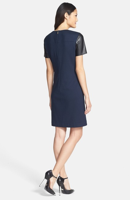 Donna Morgan Faux Leather Shift Classic Dress Image 1