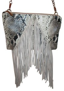 Topshop Fringed Faux Snakeskin Suede Shoulder Bag