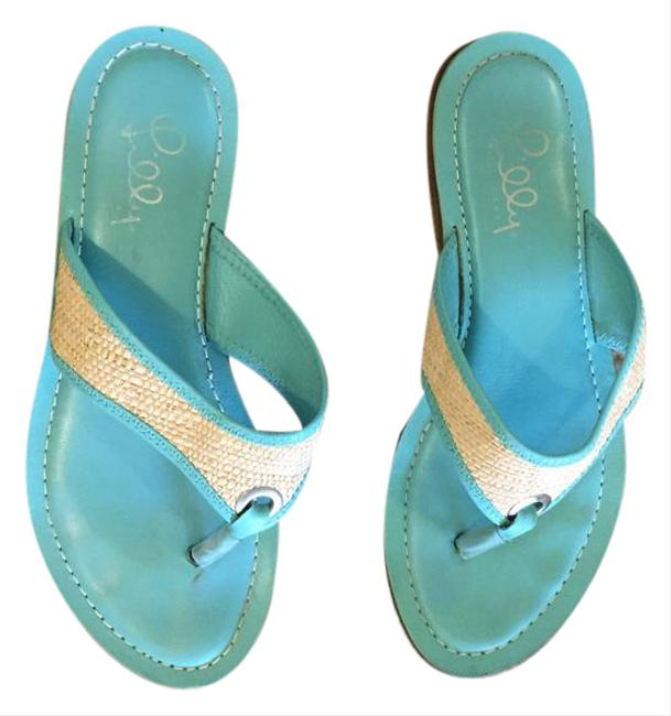 Lilly Pulitzer Turquoise / Raffia Thong Sandals Size US 8 Regular (M, B) Lilly Pulitzer Turquoise / Raffia Thong Sandals Size US 8 Regular (M, B) Image 1