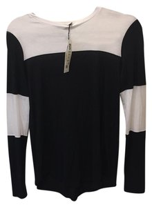 Vince T Shirt Black & White Colorblock