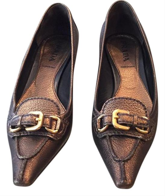 Prada Bronze Worn Only A Few Times. Marked Euro 36; Fits My 6.5 Foot. Narrow Front. Flats Size US 6 Regular (M, B) Prada Bronze Worn Only A Few Times. Marked Euro 36; Fits My 6.5 Foot. Narrow Front. Flats Size US 6 Regular (M, B) Image 1