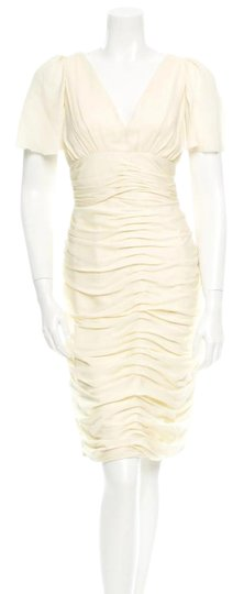 Preload https://img-static.tradesy.com/item/21823848/j-mendel-ivory-cream-silk-rouched-summer-short-sleeve-vintage-wedding-dress-size-6-s-0-4-540-540.jpg