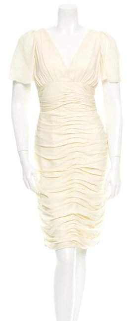 J. Mendel Ivory Cream Silk Rouched Summer Short Sleeve Vintage Wedding Dress Size 6 (S) J. Mendel Ivory Cream Silk Rouched Summer Short Sleeve Vintage Wedding Dress Size 6 (S) Image 1