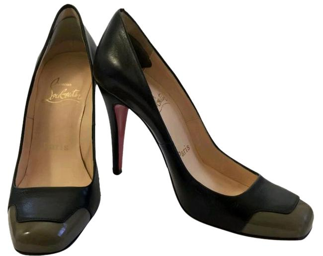 Christian Louboutin Black Taupe Leather Square Toe Business 5 Pumps Size EU 35 (Approx. US 5) Regular (M, B) Christian Louboutin Black Taupe Leather Square Toe Business 5 Pumps Size EU 35 (Approx. US 5) Regular (M, B) Image 1