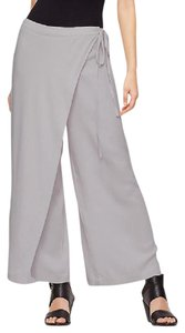 Eileen Fisher Wrap Sarong Silk Georgette Crepe Relaxed Pants SILVER