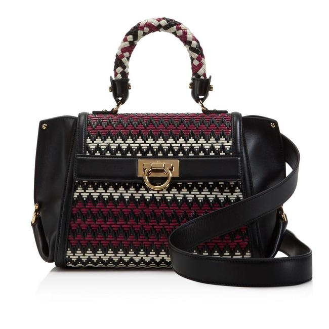 Salvatore Ferragamo Sofia Woven Multicolor Leather Satchel Salvatore Ferragamo Sofia Woven Multicolor Leather Satchel Image 1