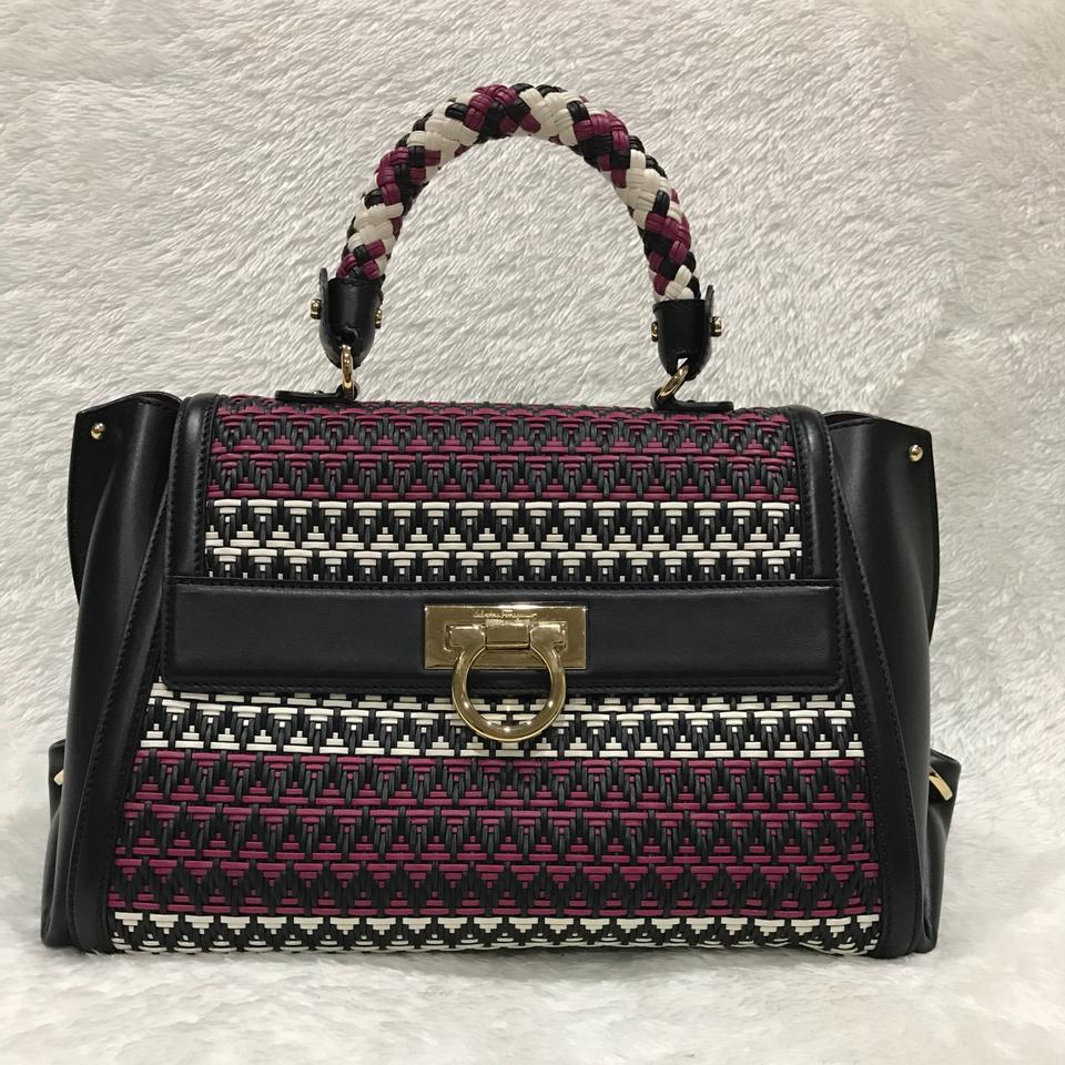 555067095906 Salvatore Ferragamo Sofia Woven Multicolor Leather Satchel - Tradesy
