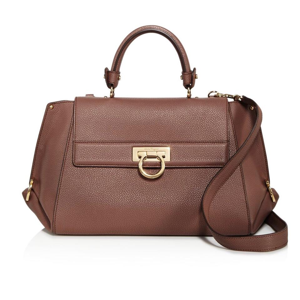 e069c28f21 Salvatore Ferragamo Sofia Medium Mocha Brown Leather Satchel - Tradesy