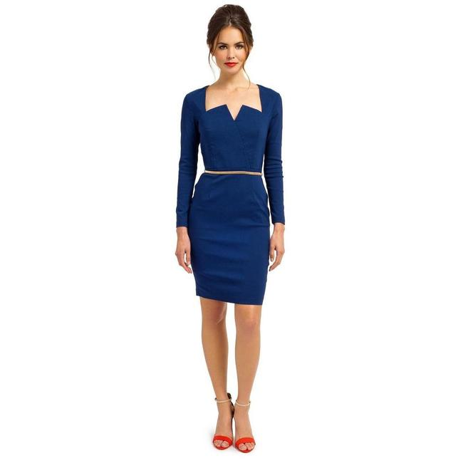 Preload https://img-static.tradesy.com/item/21824265/blue-fitted-mid-length-workoffice-dress-size-10-m-0-0-650-650.jpg
