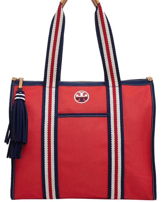 Item - Embroidered T Cherry Apple Red Cotton Tote