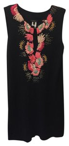 Nanette Lepore short dress Black Multi Embroidered Beaded Keyhole Sheath on Tradesy