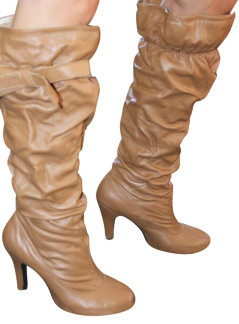 Tan Ruched with Round Toe and Tie Boots/Booties Size US 8.5 Regular (M, B) Tan Ruched with Round Toe and Tie Boots/Booties Size US 8.5 Regular (M, B) Image 1