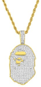 Master Of Bling Designer Ape Pendant Fully Iced Out 18K Gold Layered Rope Necklace 24