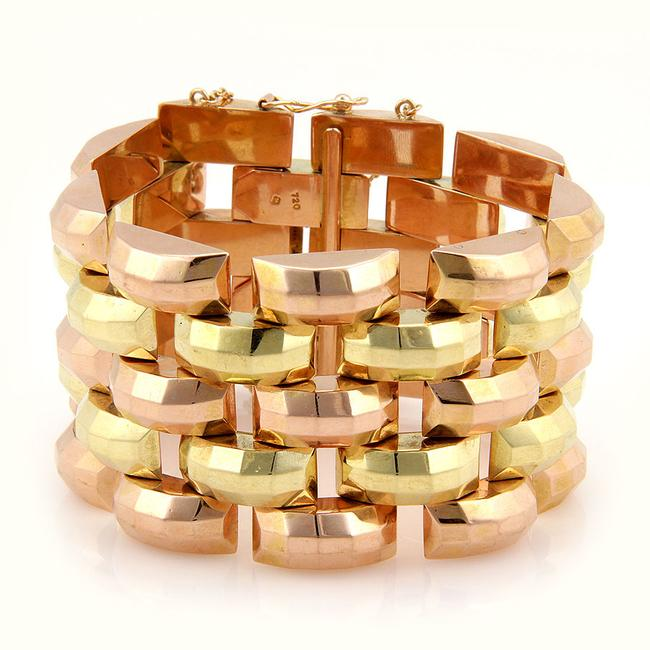 #25986 Retro 18k Yellow & Rose Gold 42mm Wide Link Fashion Bracelet #25986 Retro 18k Yellow & Rose Gold 42mm Wide Link Fashion Bracelet Image 1