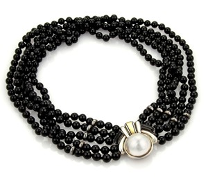Cartier Mabe Pearl 18k Gold Sterling 5 Strand Onyx Necklace
