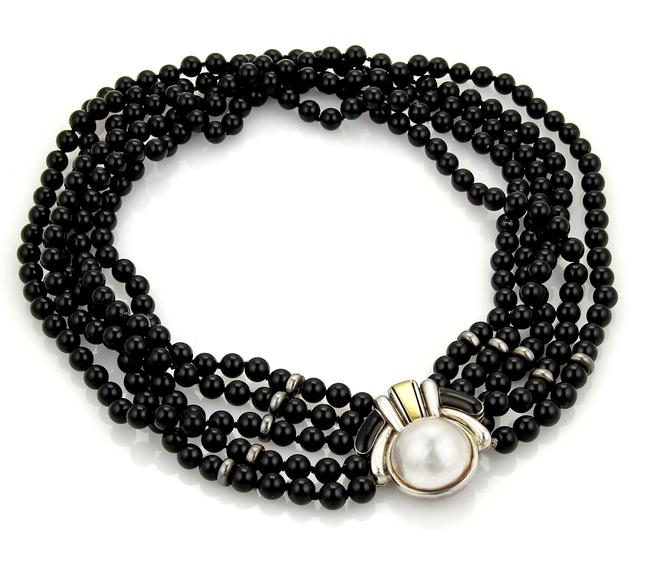 Cartier 21006 - Mabe Pearl 18k Gold Sterling 5 Strand Onyx Necklace Cartier 21006 - Mabe Pearl 18k Gold Sterling 5 Strand Onyx Necklace Image 1
