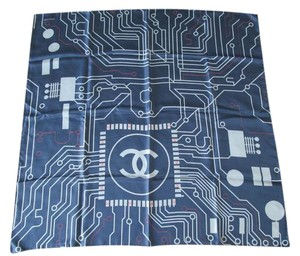 Chanel Chanel Data Center Computer Chip Print Blue Logo Square Silk Scarf