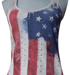 Rock & Republic Top red, pale gray, and blue