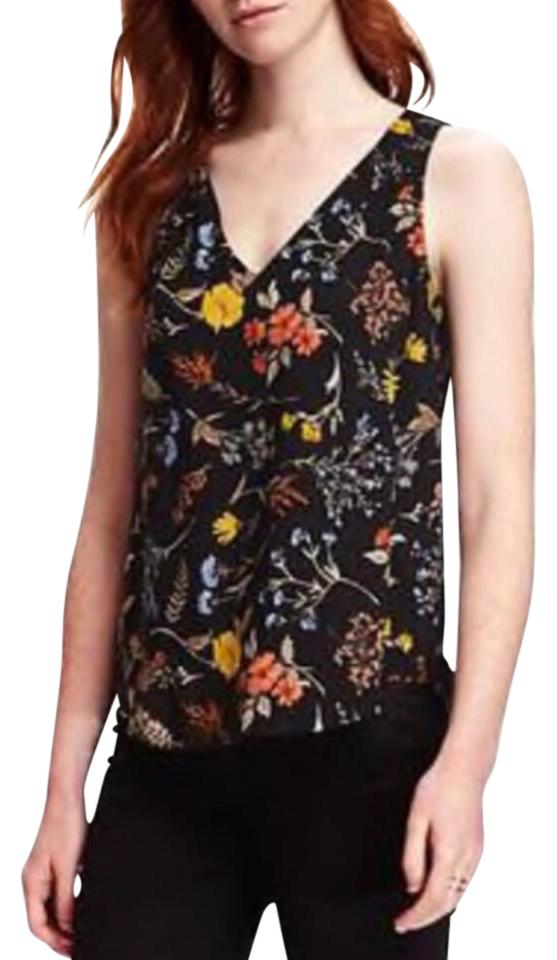 a92e892d2d66f3 Old Navy Black and Floral Crepe Tank Blouse Size 0 (XS) - Tradesy